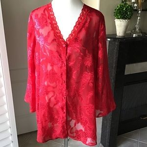 Victoria's Secret Gold Label Red Lace Gown Nightie